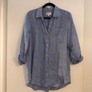 Very gently worn linen denim button down shirt